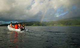 Dinghy and rainbow