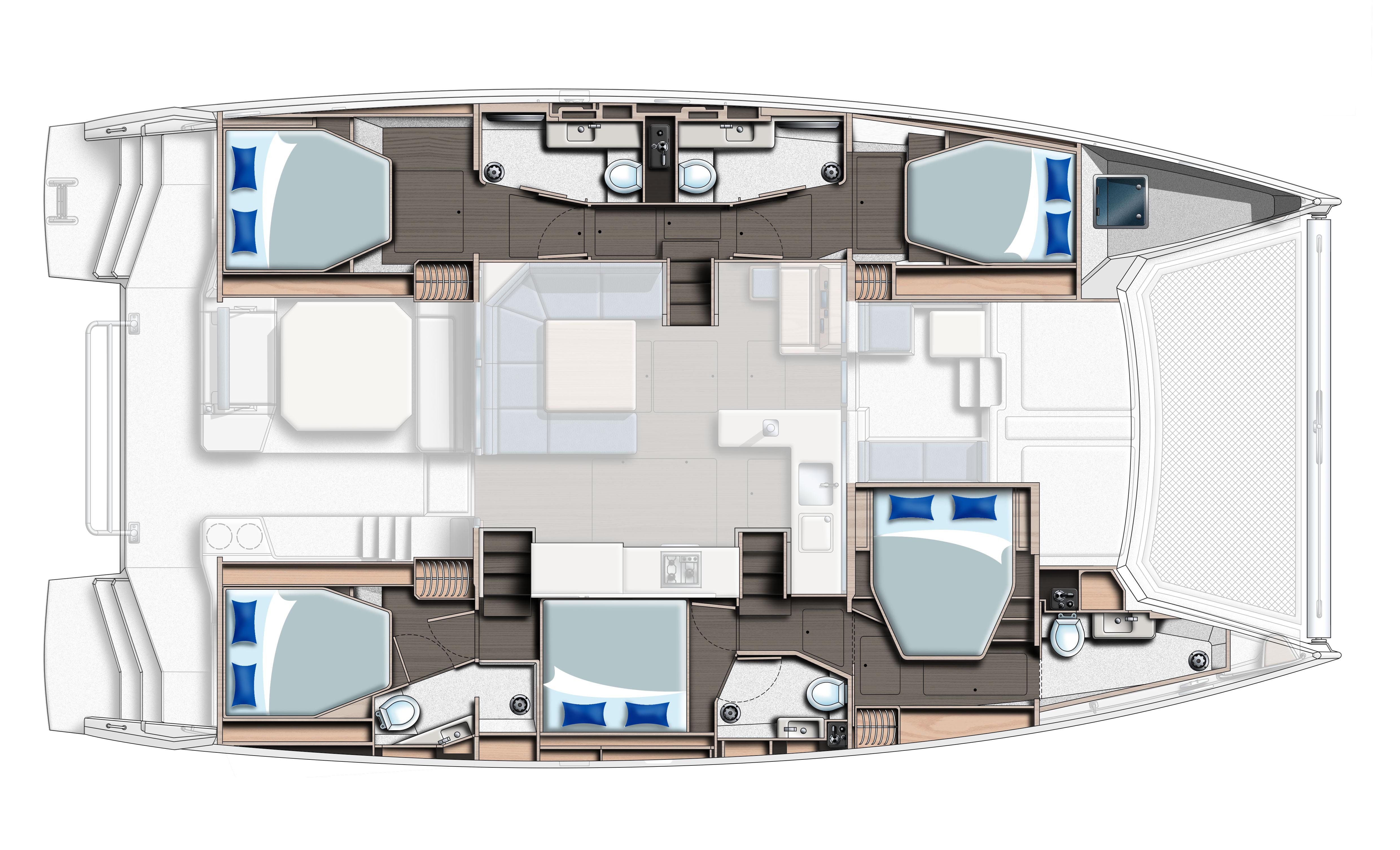 Moorings 5000 Catamaran layout